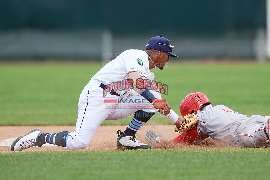 Princeton Rays shortstop Wander Franco (6) puts a tag on Brian Rey (6) trying to steal second base during the first game of a doubleheader against the Greeneville Reds on July 25, 2018 at Hunnicutt Field in Princeton, West Virginia.  Princeton defeated Greeneville 6-4.  (Mike Janes/Four Seam Images)