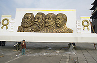 September 29th, 1984. Beijing, China. Propaganda scultpures, depicting communist leaders are displayed all over Beijing for the publlic to see.