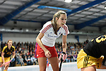 Mannheim, Germany, January 24: During the 1. Bundesliga Damen Hallensaison 2014/15 quarter-final hockey match between Mannheimer HC (white) and Harvestehuder THC (black) on January 24, 2015 at Irma-Roechling-Halle in Mannheim, Germany. Final score 2-3 (2-2). (Photo by Dirk Markgraf / www.265-images.com) *** Local caption *** Natalie Kraetsch #20 of Mannheimer HC