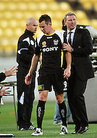 Phoenix coach Ricki Herbert walks Shane Smeltz back to the bench after subbing him off near the end of the match during the A-League match between Wellington Phoenix and Newcastle Jets at Westpac Stadium, Wellington, New Zealand on Sunday, 4 January 2009. Photo: Dave Lintott / lintottphoto.co.nz