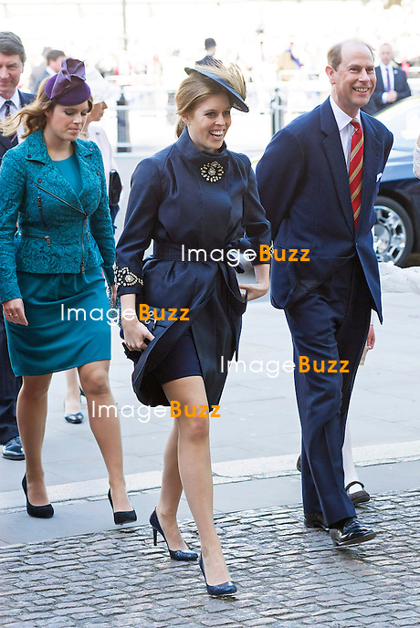 PRINCESSES BEATRICE AND EUGENIE, PRINCE EDWARD AND SOPHIE<br /> joined The Queen and other members of the Royal Family for  A Service to Celebrate the 60th Anniversary of the Coronation Service at Westminster Abbey, London_04/06/2013<br /> Members of the Royal Family attending the Service included The Prince of Wales and The Duchess of Cornwall, The Duke and Duchess of Cambridge, Prince Henry of Wales, The Duke of York and Princesses Beatrice and Eugenie, The Earl and Countess of Wessex and The Lady Louise Mountbatten-Windsor, The Princess Royal, Vice Admiral Sir Tim Laurence, Peter Phillips and Autumn (Kelly) Phillips, Zara (Phillips) Tindall and Mike Tindall, The Duke and Duchess of Gloucester, The Duke and Duchess of Kent, Prince and Princess Michael of Kent
