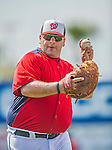 9 March 2013: Washington Nationals coach Ali Modami tosses some ball prior to a Spring Training game against the Miami Marlins at Space Coast Stadium in Viera, Florida. The Nationals edged out the Marlins 8-7 in Grapefruit League play. Mandatory Credit: Ed Wolfstein Photo *** RAW (NEF) Image File Available ***