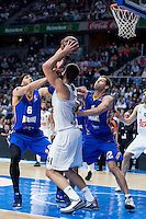 Real Madrid's Willy Hernangómez and Khimki Moscow's Josh Boone and Sergey Monya during Euroleague match at Barclaycard Center in Madrid. April 07, 2016. (ALTERPHOTOS/Borja B.Hojas) /NortePhoto