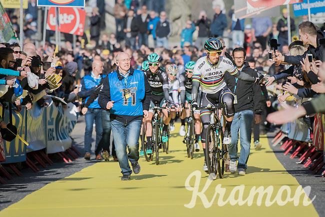 crowd favorite & world champion Peter Sagan (SVK/Bora-Hansgrohe) high-fivin'  his way to the (new) race start in Antwerpen<br /> <br /> 101th Ronde Van Vlaanderen 2017 (1.UWT)<br /> 1day race: Antwerp › Oudenaarde - BEL (260km)