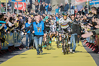 crowd favorite & world champion Peter Sagan (SVK/Bora-Hansgrohe) high-fivin'  his way to the (new) race start in Antwerpen<br /> <br /> 101th Ronde Van Vlaanderen 2017 (1.UWT)<br /> 1day race: Antwerp › Oudenaarde - BEL (260km)