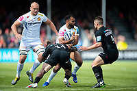 Tom O'Flaherty of Exeter Chiefs takes on the Saracens defence. Gallagher Premiership match, between Saracens and Exeter Chiefs on May 4, 2019 at Allianz Park in London, England. Photo by: Patrick Khachfe / JMP