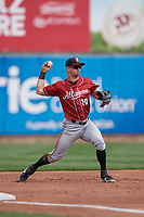 Altoona Curve third baseman Hunter Owen (10) throws to first base during an Eastern League game against the Erie SeaWolves and on June 4, 2019 at UPMC Park in Erie, Pennsylvania.  Altoona defeated Erie 3-0.  (Mike Janes/Four Seam Images)