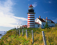 USA, Maine, West Quoddy Head Lighthouse on the easternmost point of the United States mainland
