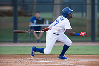 AZL Dodgers right fielder Rolando Lebron (13) starts down the first base line during an Arizona League game against the AZL White Sox at Camelback Ranch on July 3, 2018 in Glendale, Arizona. The AZL Dodgers defeated the AZL White Sox by a score of 10-5. (Zachary Lucy/Four Seam Images)