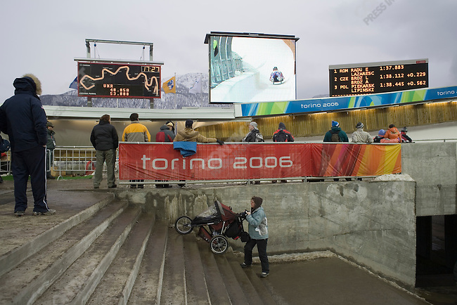 Double luge finals at Cesana Pariol venue during the Torino Winter Olympics.