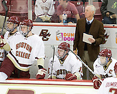 Chris Kreider (BC - 19), Kevin Hayes (BC - 12), Jimmy Hayes (BC - 10), Jerry York (BC - Head Coach), Joe Whitney (BC - 15) - The Boston College Eagles defeated the visiting University of Toronto Varsity Blues 8-0 in an exhibition game on Sunday afternoon, October 3, 2010, at Conte Forum in Chestnut Hill, MA.