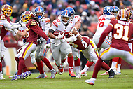 Landover, MD - December 9, 2018: New York Giants running back Saquon Barkley (26) runs the football during game between the New York Giants and Washington Redskins at FedEx Field in Landover, MD. The Giants defeated the Redskins 40-16 dropping the Redskins to 6-7 on the season. (Photo by Phillip Peters/Media Images International)