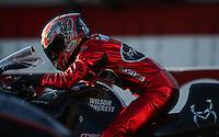 Nov. 11, 2012; Pomona, CA, USA: NHRA pro stock motorcycle rider Matt Smith during the Auto Club Finals at at Auto Club Raceway at Pomona. Mandatory Credit: Mark J. Rebilas-