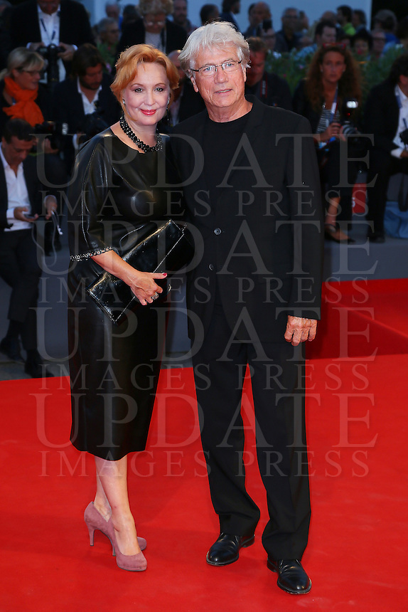 Jurgen Prochnow, right, and Verena Wrengler attend the red carpet for the premiere of the movie 'Remember' during the 72nd Venice Film Festival at the Palazzo Del Cinema in Venice, Italy, September 10, 2015.<br /> UPDATE IMAGES PRESS/Stephen Richie