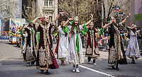 Costumed traditional Iranian folk dancing in the 11th annual Persian Parade on Madison Ave. in New York on Sunday, April 13, 2014. The parade celebrates Nowruz, New Year in the Farsi language. The holiday symbolizes the purification of the soul and dates back to the pre-Islamic religion of Zoroastrianism. (© Richard B. Levine)