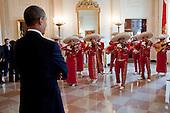 United States President Barack Obama listens to the University of Texas Pan American Mariachi Aztlan band in the Grand Foyer before signing the Executive Order for the White House Initiative on Educational Excellence for Hispanic Americans, in the East Room of the White House, Tuesday, October 19, 2010. .Mandatory Credit: Pete Souza - White House via CNP