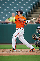 Bowie Baysox third baseman Ryan Mountcastle (4) hits a single as catcher Francisco Diaz (10) looks on during the first game of a doubleheader against the Trenton Thunder on June 13, 2018 at Prince George's Stadium in Bowie, Maryland.  Trenton defeated Bowie 4-3.  (Mike Janes/Four Seam Images)