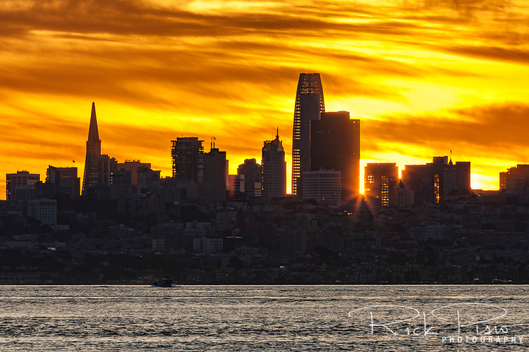 San Francisco Bay and Skyline at Sunrise