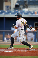 Bradenton Marauders right fielder Casey Hughston (27) follows through on a swing during a game against the Charlotte Stone Crabs on August 6, 2018 at Charlotte Sports Park in Port Charlotte, Florida.  Charlotte defeated Bradenton 2-1.  (Mike Janes/Four Seam Images)