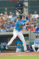 Myrtle Beach Pelicans first baseman Jared Young (3) at bat during a game against the Winston Salem Dash at Ticketreturn.com Field at Pelicans Ballpark on July 22, 2018 in Myrtle Beach, South Carolina. Winston-Salem defeated Myrtle Beach 7-2. (Robert Gurganus/Four Seam Images)
