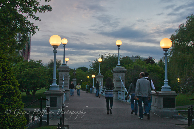 Evening, pedestrian bridge. Boston Public Garden, MA
