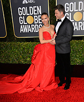 LOS ANGELES, USA. January 06, 2020: Scarlett Johansson & Colin Jost arriving at the 2020 Golden Globe Awards at the Beverly Hilton Hotel.<br /> Picture: Paul Smith/Featureflash