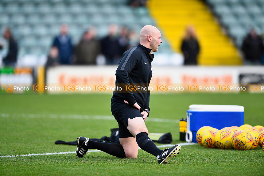 Referee Charles Breakspear does his warm up during Yeovil Town vs Grimsby Town, Sky Bet EFL League 2 Football at Huish Park on 9th February 2019