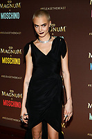 Model Cara Delevigne arrives at the Magnum X Moschino party during the 70th Annual Cannes Film Festival at Plage l'Ondine in Cannes, France, on 18 May 2017. Photo: Hubert Boesl- NO WIRE SERVICE · Photo: Hubert Boesl/dpa /MediaPunch ***FOR USA ONLY***