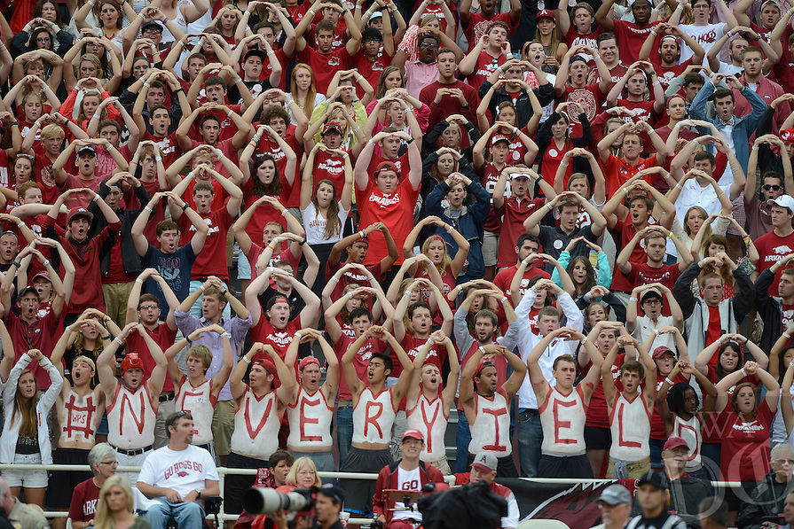STAFF PHOTO ANTHONY REYES • @NWATONYR<br /> Fans cheer for the Razorbacks against Nicholls State in the first quarter Saturday, Sept. 6, 2014 at Razorback Stadium in Fayetteville.