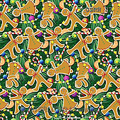 Randy, GIFT WRAPS, GESCHENKPAPIER, PAPEL DE REGALO, paintings+++++Gingerbread-pattern-on-green,USRW87,#GP# Christmas napkins