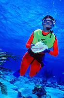Snorkeler (skin diver) with conch shell.Grand Cayman.
