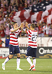 11 September 2012: Geoff Cameron (USA) (20) and Fabian Johnson (USA) (23) celebrate after the final whistle. The United States Men's National Team defeated the Jamaica Men's National Team 1-0 at Columbus Crew Stadium in Columbus, Ohio in a CONCACAF Third Round World Cup Qualifying match for the FIFA 2014 Brazil World Cup.