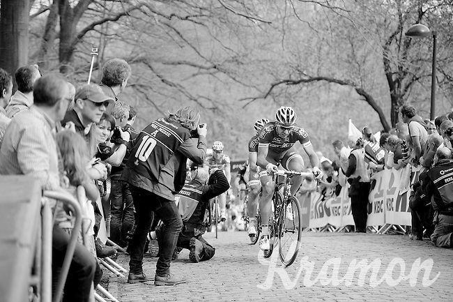 Matthieu Ladagnous (FRA/FDJ) on top of the Kemmelberg<br /> <br /> Gent-Wevelgem 2014