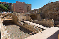Old Roman walls excavation site in Tarragona, Spain