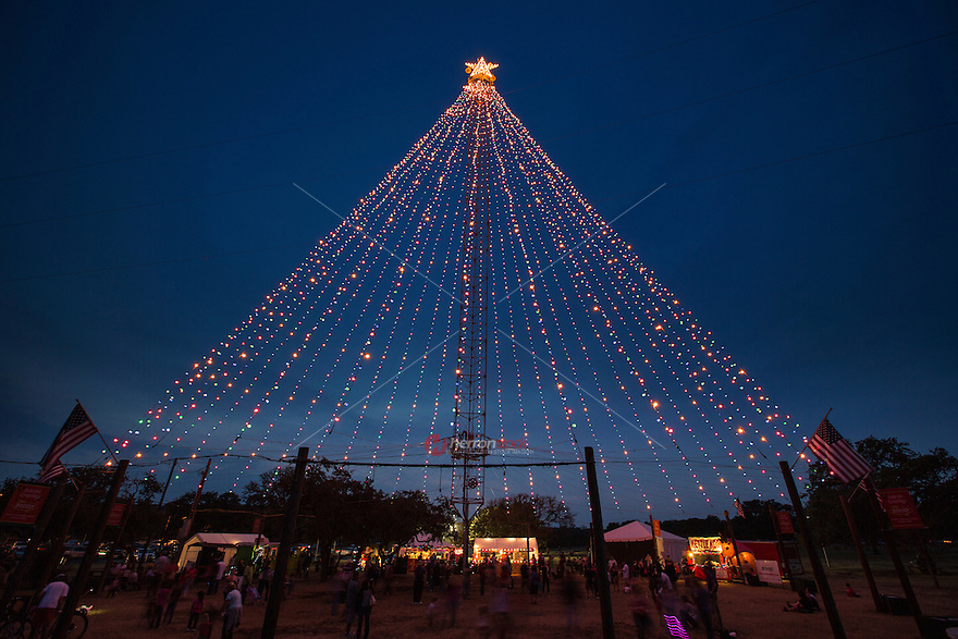 Crowds flock to the Zilker Holiday Tree to celebrate the Christmas Season in Austin, Texas.