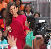 October 11, 2018  Zendaya, at Today Show Michelle Obama announces the Obama Foundation's Global Girls Alliance to Support Adolescent Girls Education Around the World on International Day of the Girl   at Rockefeller Center Plaza in New York October 11, 2018 Credit:RW/MediaPunch
