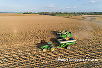 63801-12904 Harvesting corn and unloading into grain cart in fall-aerial  Marion Co. IL
