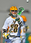 17 March 2012: University of Vermont Catamount Attackman A.J. Masson, a Junior from Newmarket, Ontario, in action against the Sacred Heart University Pioneers at Virtue Field in Burlington, Vermont. The Catamounts defeated the visiting Pioneers 12-11 with only 10 seconds remaining in their non-conference matchup. Mandatory Credit: Ed Wolfstein Photo