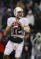 Oct 30, 20010:  Stanford quarterback #12 Andrew Luck drops back in the pocket against Washington.  Stanford defeated Washington 41-0 at Husky Stadium in Seattle, Washington.