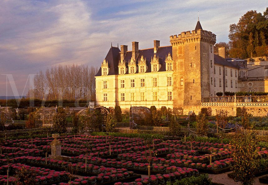 Chateau, Loire Valley, France, Villandry, Loire Castle Region, Europe, Villandry Chateau and Gardens. A Rennaissance castle.
