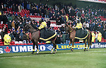 Police on horse forma line between the Chelsea fans and the pitch following trouble in the game - Premier League - Nottingham Forest v Chelsea - City Ground - Nottingham - England - 11th January 1997 - Picture Simon Bellis/Sportimage