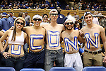 17 December 2013: UConn fans. The Duke University Blue Devils played the University of Connecticut Huskies at Cameron Indoor Stadium in Durham, North Carolina in a 2013-14 NCAA Division I Women's Basketball game.