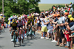 The peloton led by Team Jumbo-Visma during Stage 1 of the 2019 Tour de France running 194.5km from Brussels to Brussels, Belgium. 6th July 2019.<br /> Picture: ASO/Alex Broadway | Cyclefile<br /> All photos usage must carry mandatory copyright credit (© Cyclefile | ASO/Alex Broadway)