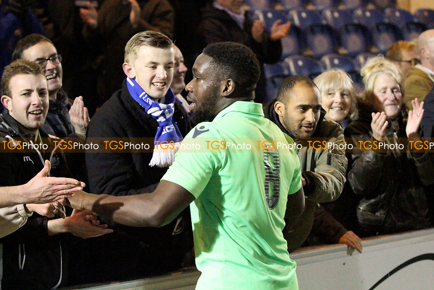 Godfrey Poku of Oxford City celebrates with fans at full-time during Colchester United vs Oxford City, Emirates FA Cup Football at the Weston Homes Community Stadium on 4th November 2017