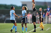 Piscataway, NJ - Saturday June 11, 2016: Kim DeCesare, Tasha Kai during a regular season National Women's Soccer League (NWSL) match between Sky Blue FC and FC Kansas City at Yurcak Field.