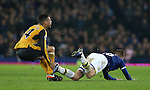 Francis Coquelin of Arsenal is caught by James McCarthy of Everton which earned him a yellow card during the English Premier League match at Goodison Park Stadium, Liverpool. Picture date: December 13th, 2016. Pic Simon Bellis/Sportimage
