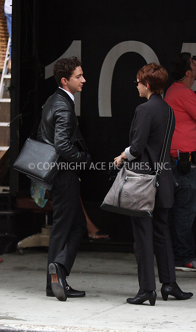 WWW.ACEPIXS.COM . . . . .  ....September 16 2009, New York City....Actors Shia LaBeouf and Carey Mulligan on the set of the new movie 'Wall Street 2, Money never Sleeps' on September 16 2009 in New York City....Please byline: AJ Sokalner - ACEPIXS.COM..... *** ***..Ace Pictures, Inc:  ..tel: (212) 243 8787..e-mail: info@acepixs.com..web: http://www.acepixs.com