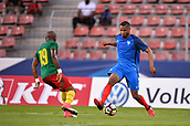 June 8th 2017, Créteil, France, U-21 International football friendly, France versus Cameroon;  Marcus Coco (fra) takes on Raoul Kenne (cam)