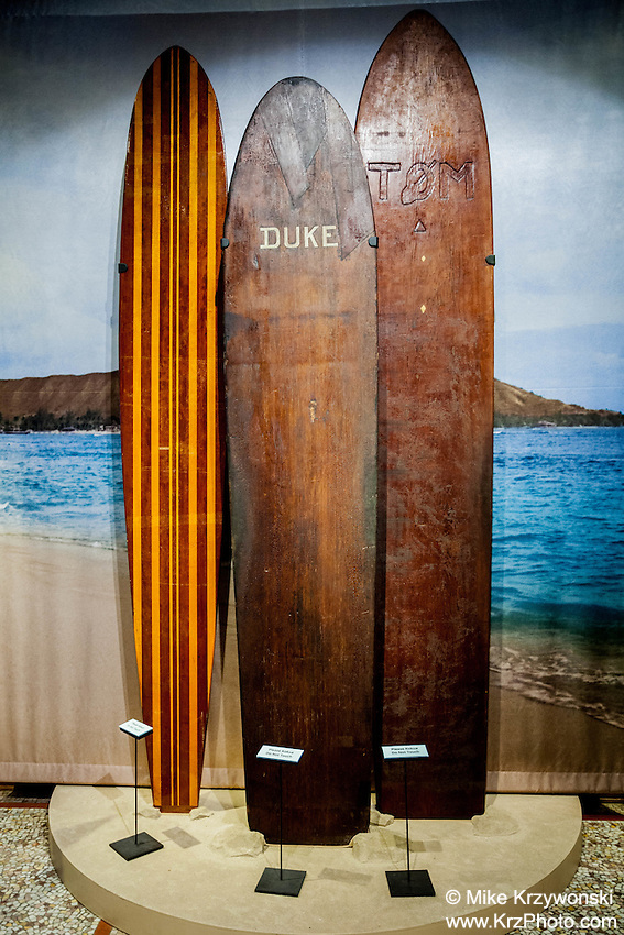 Duke Kahanamoku's wooden surfboard exhibit at Bishop Museum, Honolulu
