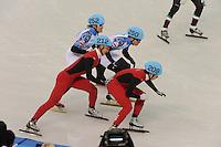 OLYMPICS: SOCHI: Iceberg Skating Palace, 13-02-2014, Shorttrack, 5000m Relay Men, Semifinals, Vladimir Grigorev (#252 | RUS), Victor An (#250 | RUS), Dajing Wu (#212 | CHN), Tianyu Han (#209 | CHN), ©photo Martin de Jong